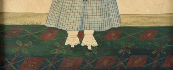 Folk Art Watercolor Portraits, Young Sisters Holding Doll & Basket of Flowers Full Length Images, Great Dresses and Floorcloth, Anonymous, detail view 2