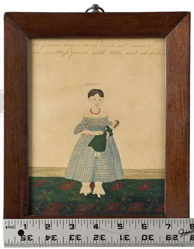 Folk Art Watercolor Portraits, Young Sisters Holding Doll & Basket of Flowers Full Length Images, Great Dresses and Floorcloth, Anonymous, scale view