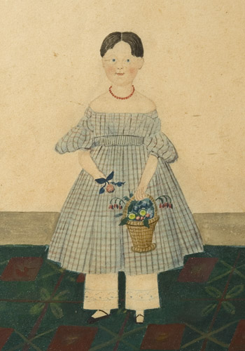 Folk Art Watercolor Portraits, Young Sisters Holding Doll & Basket of Flowers Full Length Images, Great Dresses and Floorcloth, Anonymous, entire view sans frame 2