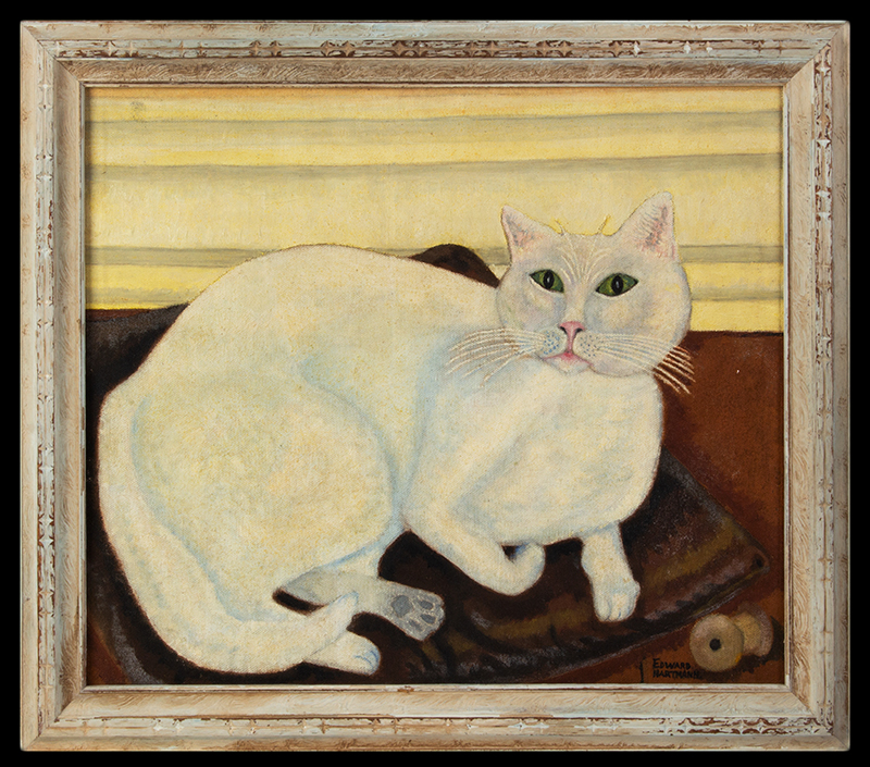 """Painting of Reclining White Cat by Edward John Hartmann, Riverton, New Jersey """"Portrait of My Olde White cat – As a boy"""", EJH, entire view"""