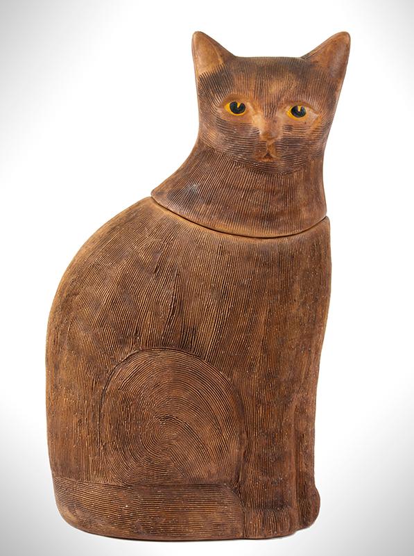 Antique Cookie jar, Cat Form, Brown Salt Glazed Earthenware, Scored Surface, entire view 1