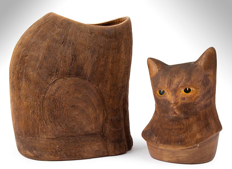 Antique Cookie jar, Cat Form, Brown Salt Glazed Earthenware, Scored Surface, entire view 2