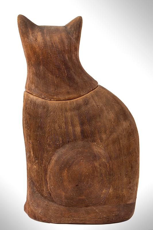 Antique Cookie jar, Cat Form, Brown Salt Glazed Earthenware, Scored Surface, back