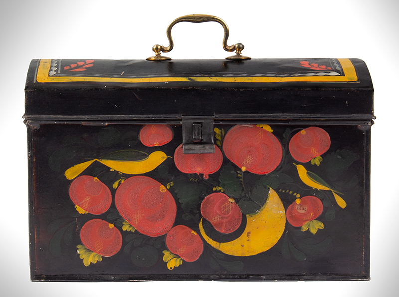Large Paint Decorated American Painted Tin Trunk, Tole Folk Art, 13-Inches Berlin, Connecticut. Francis Type Decoration Featuring Birds, entire view