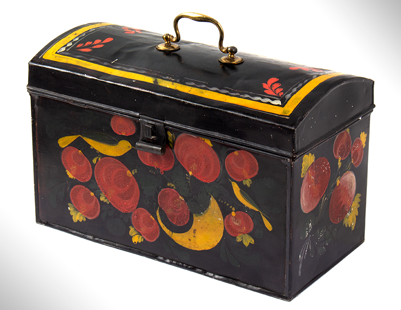 Large Paint Decorated American Painted Tin Trunk, Tole Folk Art, 13-Inches Berlin, Connecticut. Francis Type Decoration Featuring Birds, entire view 3
