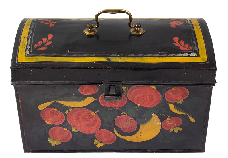 Large Paint Decorated American Painted Tin Trunk, Tole Folk Art, 13-Inches Berlin, Connecticut. Francis Type Decoration Featuring Birds, entire view 4