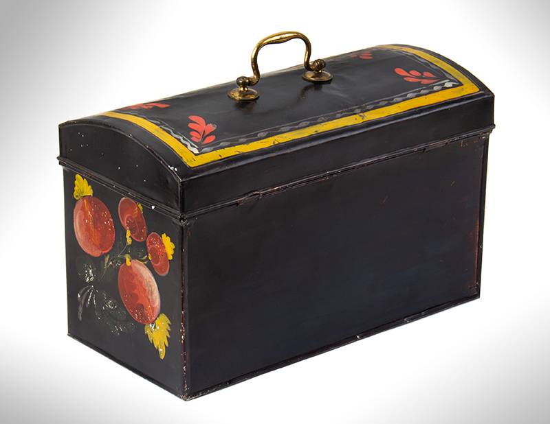 Large Paint Decorated American Painted Tin Trunk, Tole Folk Art, 13-Inches Berlin, Connecticut. Francis Type Decoration Featuring Birds, entire view 5