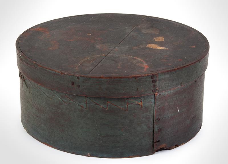 Large Painted Pantry Box, Round Storage Box, Original Paint, Make-Do Repair, entire view 1