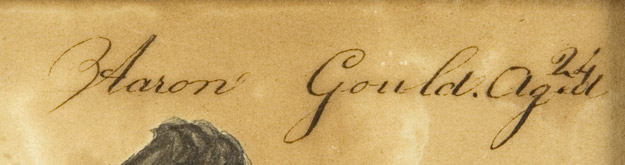 Amos Holbrook, Miniature Portrait of Aaron Gould, Aged 24, New Hampshire, Circa 1830          Portrait of Aaron Gould, small half-length, in a black coat, holding a book Inscribed Aaron            Gould.Ag.d/24 [sic] along the upper edge, detail view