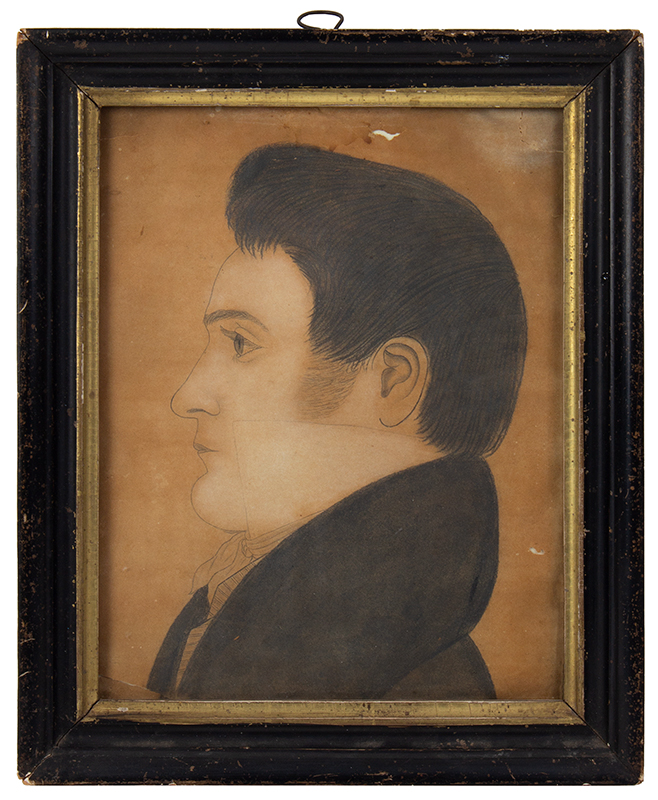 Madison Houghton (1809-1870), Shoulder Length Profile Portrait of Young Man Miami Township, Ohio, entire view