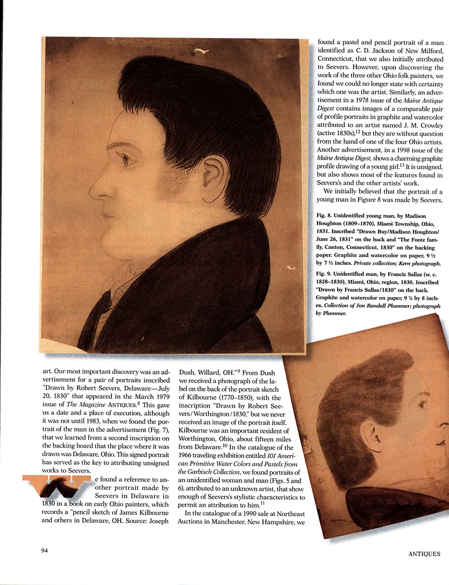 Madison Houghton (1809-1870), Shoulder Length Profile Portrait of Young Man Miami Township, Ohio, magazine view 5