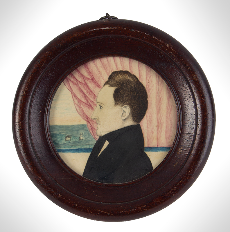 Folk Art, Profile Portrait, Gentleman Positions before Curtained Window, Lighthouse, entire view