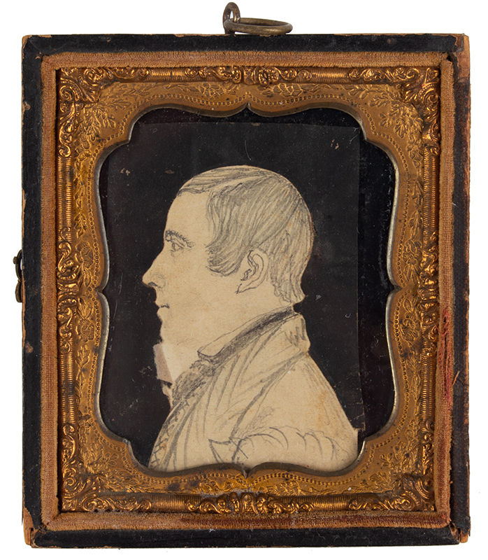 Folk Art, Profile Portrait of Gentleman, Likely Ohio Compares to the Seever/Houghton circle profiles, entire view