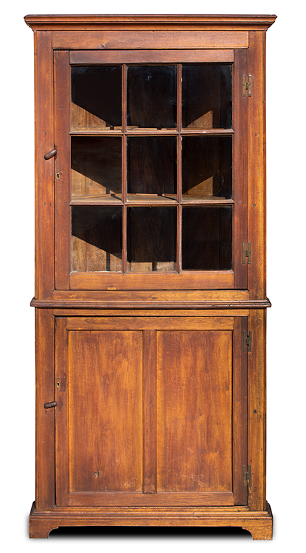 """Small Southern Corner Cupboard, Probably Western Virginia, Brass """"H"""" Hinges From a Richmond, Virginia Collection, entire view"""