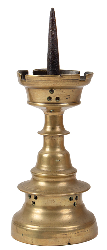 15th Century Dutch Pricket Candlestick, Robust & Successful Castellated Form, entire view