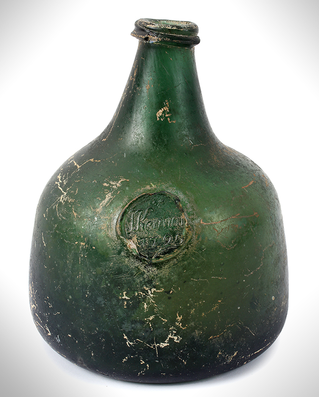 Wine Bottle, Probably Irish, Sealed & Dated, Kennan - 1725, entire view 1