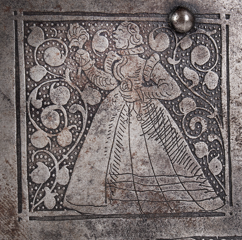 Polished, Etched and Engraved Iron Box, Casket on Ball Feet, Complex Lock Probably Nuremberg…, engraving detail 4