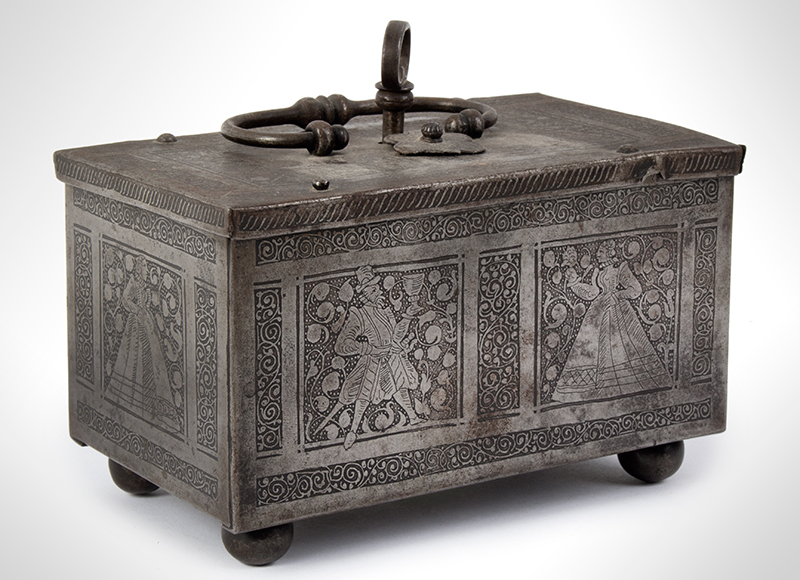 Polished, Etched and Engraved Iron Box, Casket on Ball Feet, Complex Lock Probably Nuremberg…, entire view 1