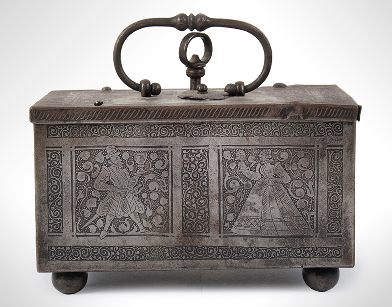 Polished, Etched and Engraved Iron Box, Casket on Ball Feet, Complex Lock Probably Nuremberg…, entire view 2