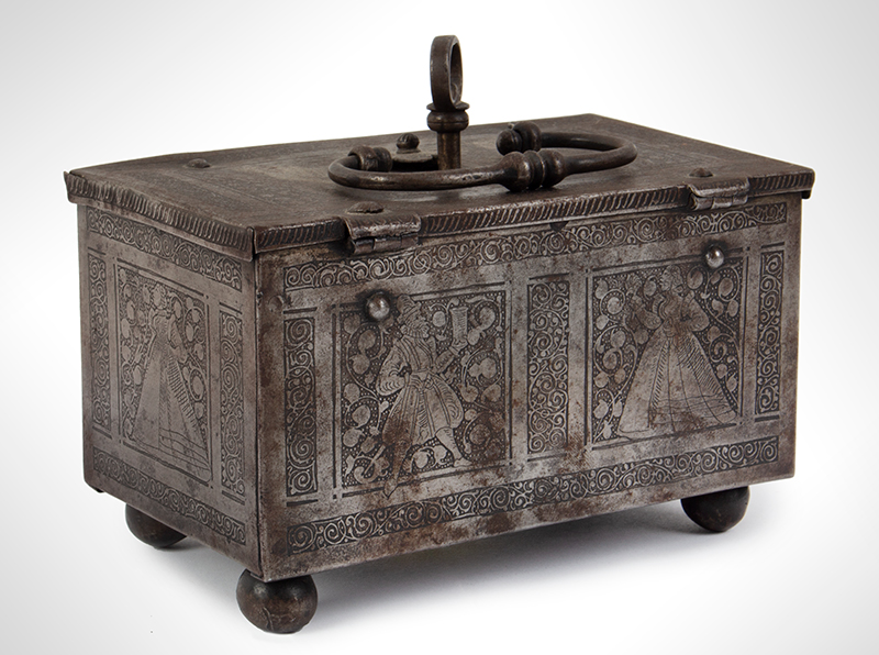 Polished, Etched and Engraved Iron Box, Casket on Ball Feet, Complex Lock Probably Nuremberg…, entire view 3
