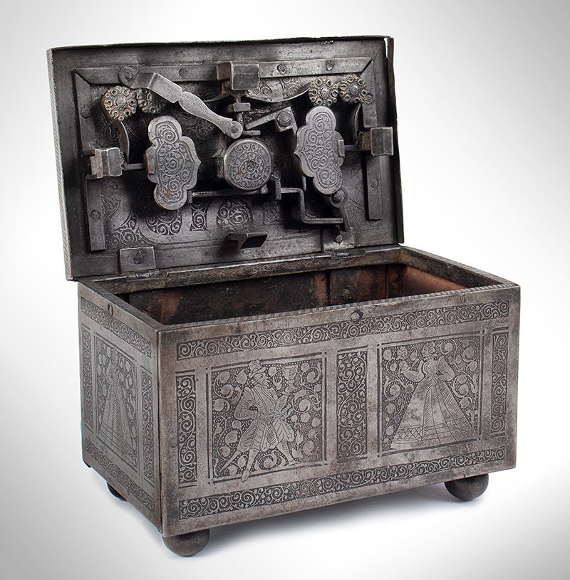 Polished, Etched and Engraved Iron Box, Casket on Ball Feet, Complex Lock Probably Nuremberg…, entire view 4