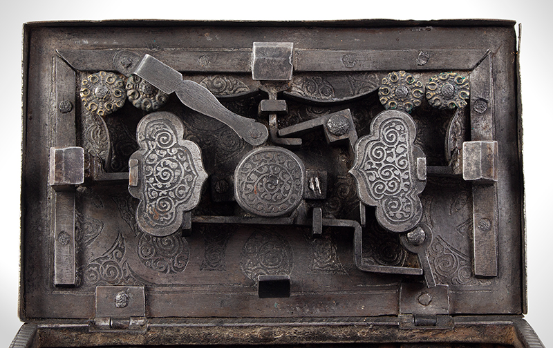 Polished, Etched and Engraved Iron Box, Casket on Ball Feet, Complex Lock Probably Nuremberg…, lock detail