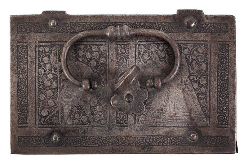 Polished, Etched and Engraved Iron Box, Casket on Ball Feet, Complex Lock Probably Nuremberg…, top view