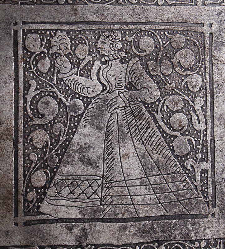 Polished, Etched and Engraved Iron Box, Casket on Ball Feet, Complex Lock Probably Nuremberg…, engraving detail 2