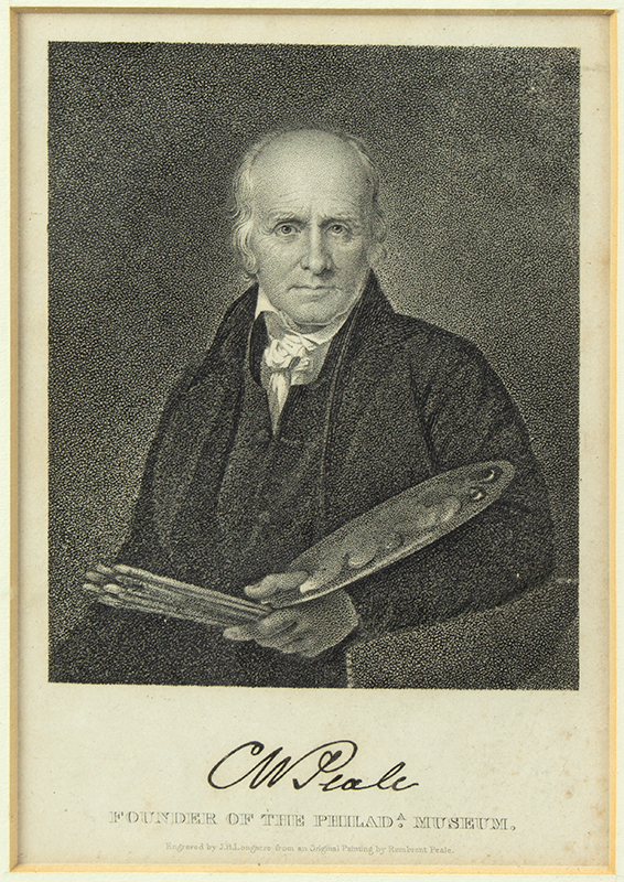 Engraving, CW Peale, FOUNDER OF THE PHILADA. MUSEUM Engraved by J.B. Longacre From an Original Painting by Rembrandt Peale, entire view