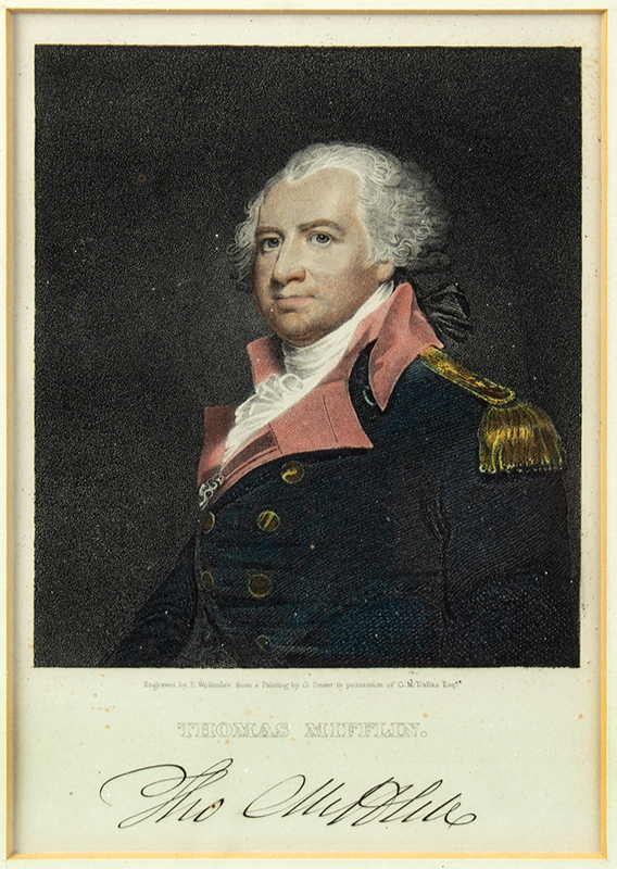 Engraving, Thomas Mifflin by Edward Wellmore After a Painting by Gilbert Stuart in possession of G.M. Dallas Esqr., entire view sans frame