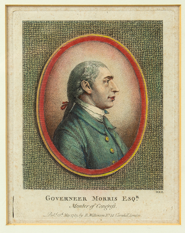 Stipple and Line Engraving, Governeer [sic] Morris Esqr., Member of Congress Artist: Benjamin Beale Evans Founding Father Who is Known as the Penman of the Constitution, entire view sans frame