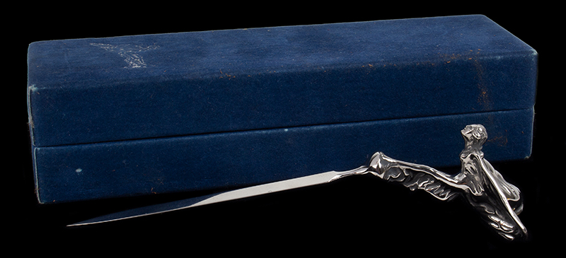 Vintage Rolls Royce Flying Lady Letter Opener, Mascot, Original Box, entire view 1