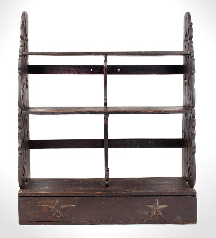 Wall Shelf, Folk Art, Carved, Scrolled & Pierced, Drawer, Applied Stars, entire view 1
