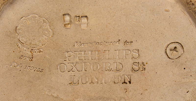 Doulton Lambeth Stoneware Toby Jug Base Inscribed Manufactured for Phillips Oxford St London, address marks