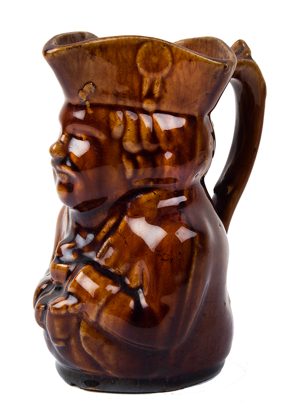 Rockingham Toby Pitcher, Creamer/Syrup, Figure with Jug of Ale Probably Bennington, entire view 2