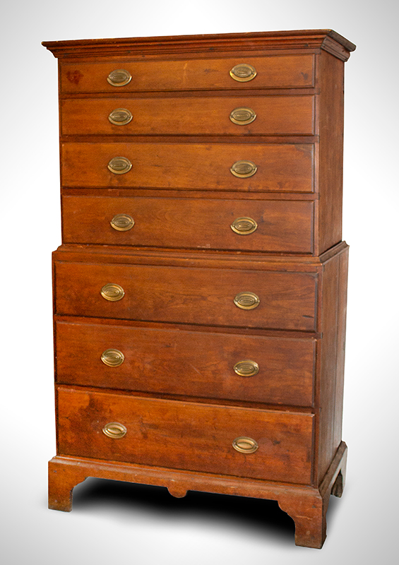 Diminutive Chest-on-Chest, New England, Original Surface & Brass Hardware, entire view