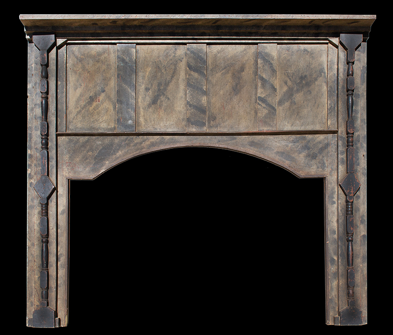 Fireplace Mantel, Carved, Turned and Paint Decorated Surround, East or Middle Tennessee Inventive Spirit and Playfulness of Design, Entirely Wood Peg Joinery, Great Paint Decoration, entire view