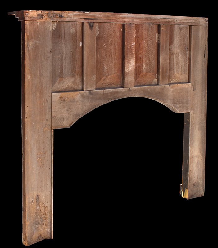 Fireplace Mantel, Carved, Turned and Paint Decorated Surround, East or Middle Tennessee Inventive Spirit and Playfulness of Design, Entirely Wood Peg Joinery, Great Paint Decoration, back view