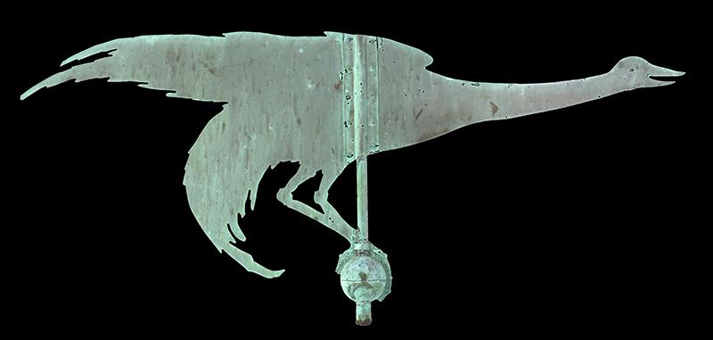 Antique Weathervane, Great Blue Heron, Unique, Best Verdigris Surface, entire view 1