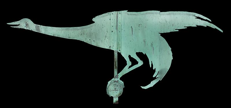 Antique Weathervane, Great Blue Heron, Unique, Best Verdigris Surface, entire view 2