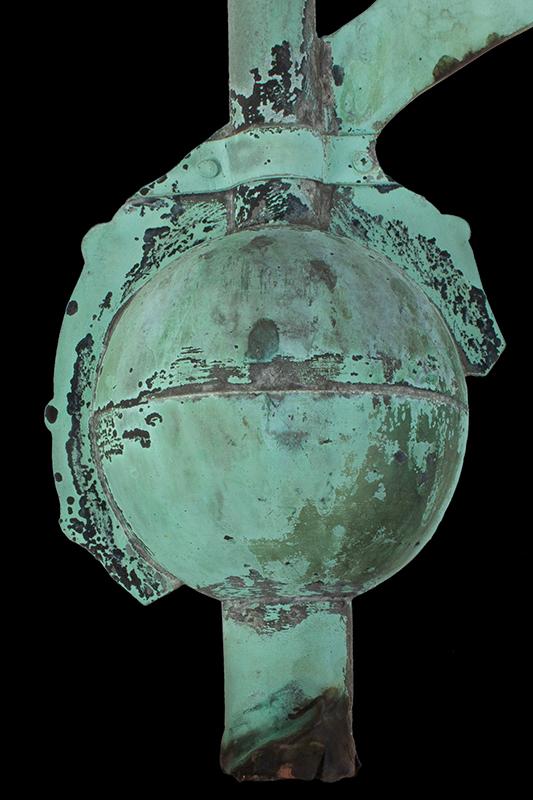 Antique Weathervane, Great Blue Heron, Unique, Best Verdigris Surface, detail view 1