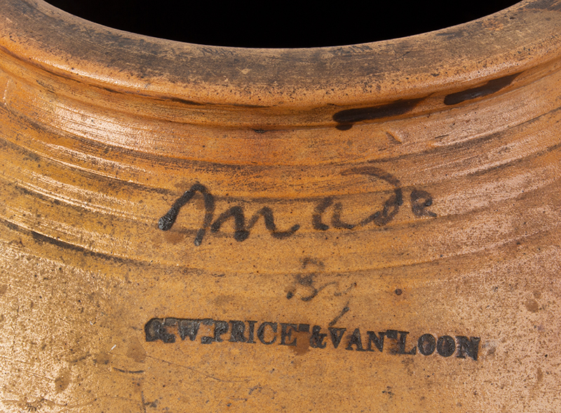 Stoneware Cooler Made by G.W. Price & Van Loon, Brush & Slip Decoration Probably Ashfield, Massachusetts, detail view 1