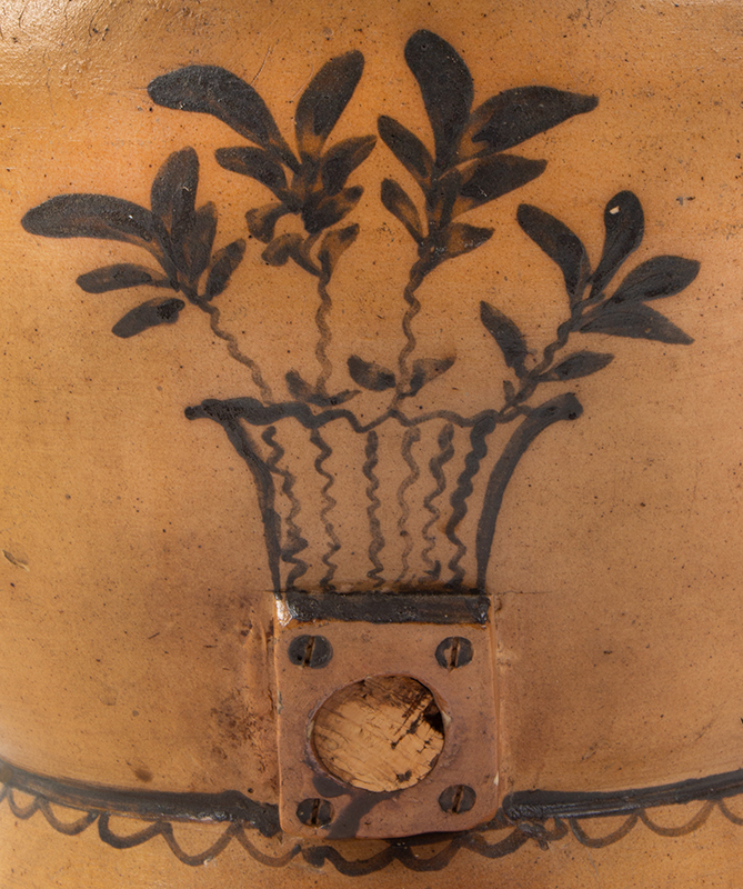 Stoneware Cooler Made by G.W. Price & Van Loon, Brush & Slip Decoration Probably Ashfield, Massachusetts, entire view 2