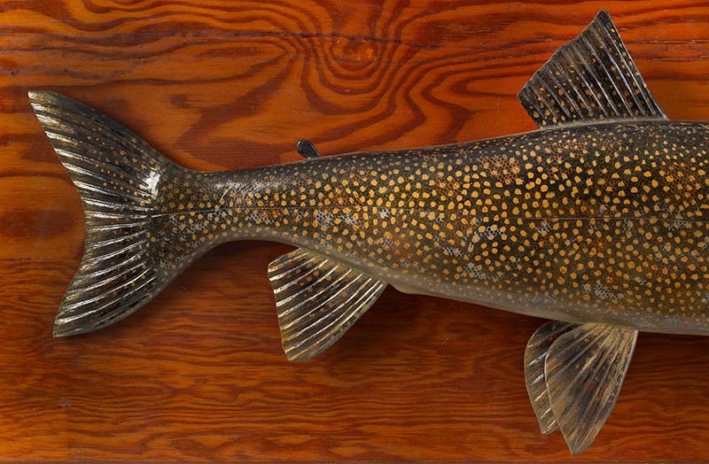 Carved and Painted Lake Trout by Lawrence Irvine, Winthrop, Maine, Signed Signed on Reverse by Maine's Master Carver Lawrence Irvine (1918-1998), detail view 2