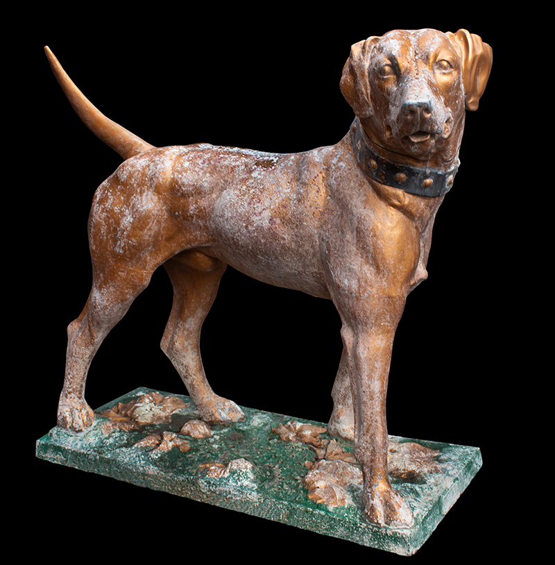J.W. Fiske Fire Dog, Large Zinc Labrador Figure Wearing Studded Collar, Signed New York City, entire view 1