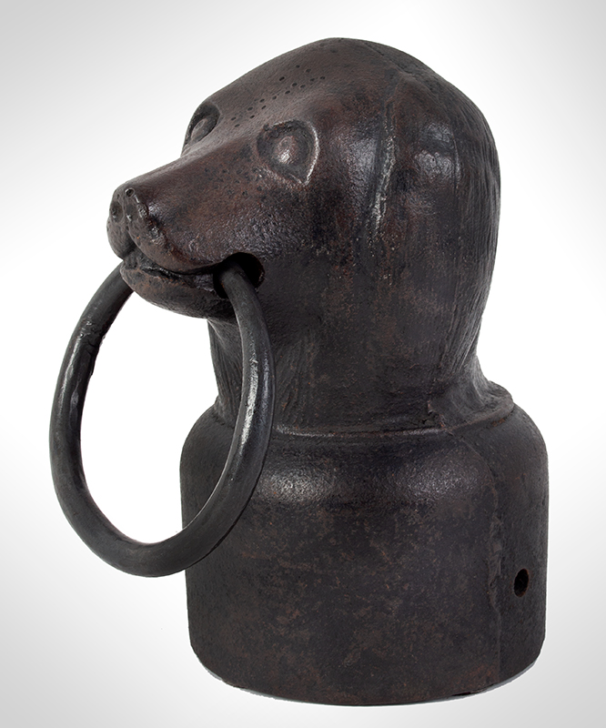 A Rare and Charming Dog Head Hitching Post, Fine Detailing of Fur, Folk Art Unknown maker, entire view 3