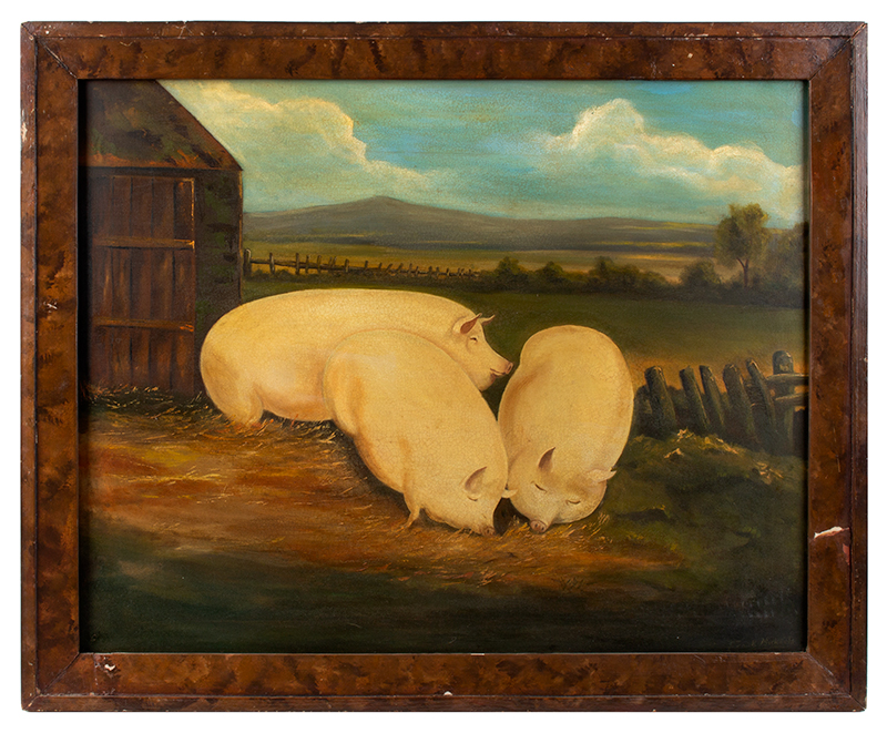 Folk Art Painting of Three Well Fed Pigs, Signed Frank Michaels, entire view