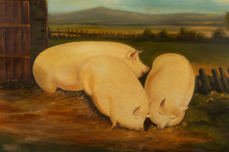 Folk Art Painting of Three Well Fed Pigs, Signed Frank Michaels, entire view sans frame