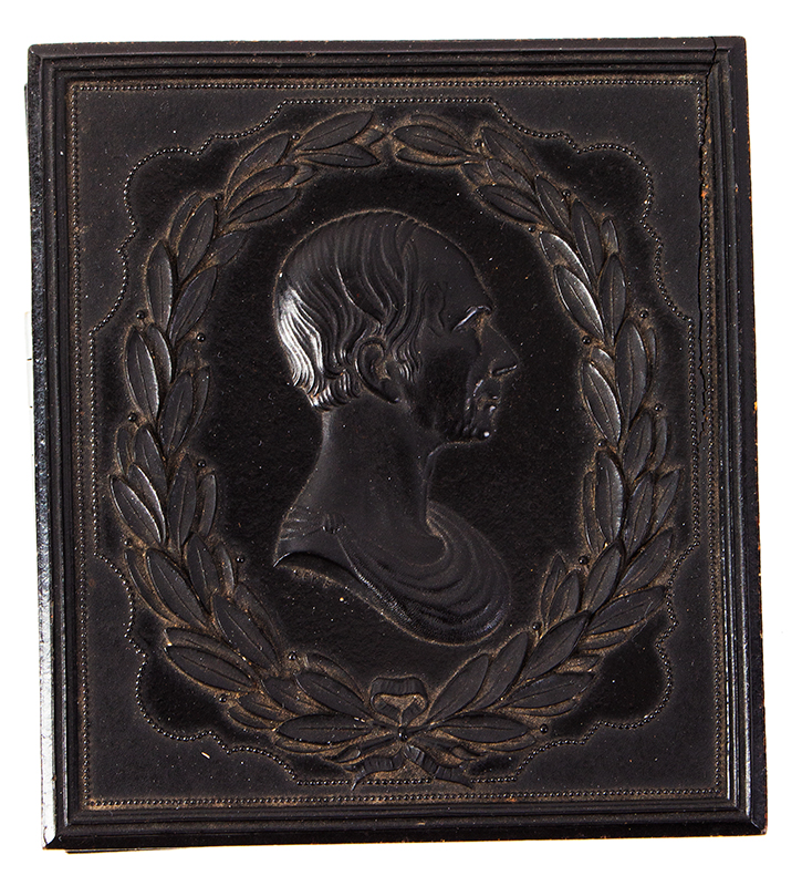 American Thermoplastic Photograph Case, Bust of Henry Clay on Cover Exceedingly Rare, case view