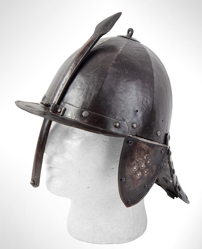 17th Century Helmet, Burgonet, Steel, Lobster Tail, Earflaps, Visor & Face Strip, entire view 2